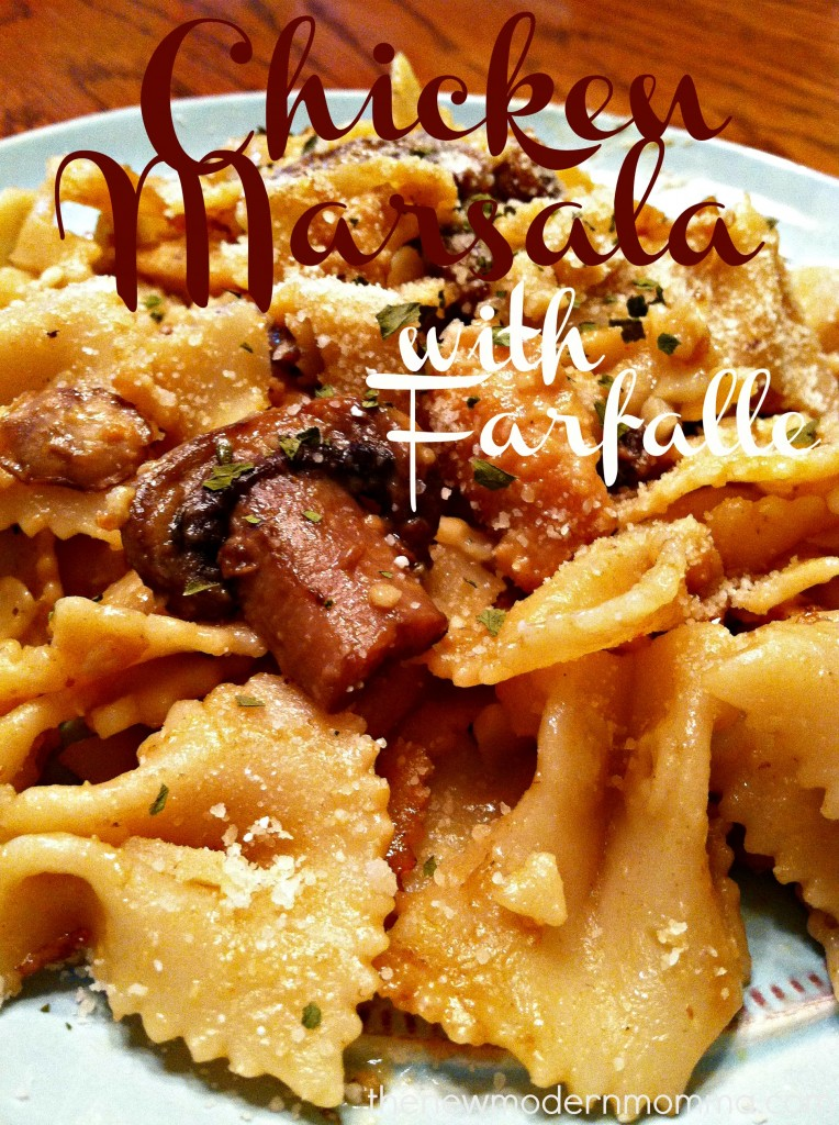 chicken marsala with farfalle
