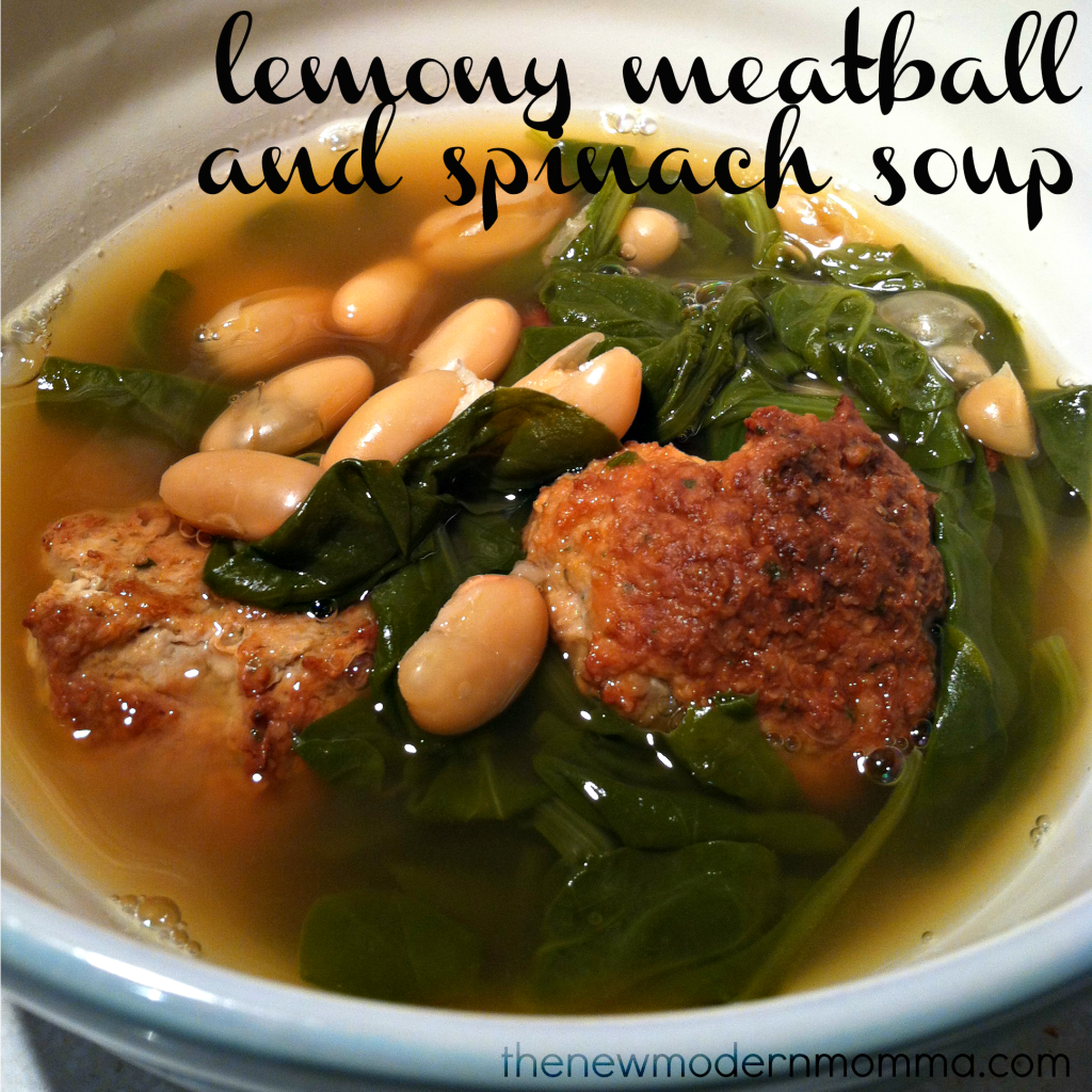 lemony meatball and spinach soup