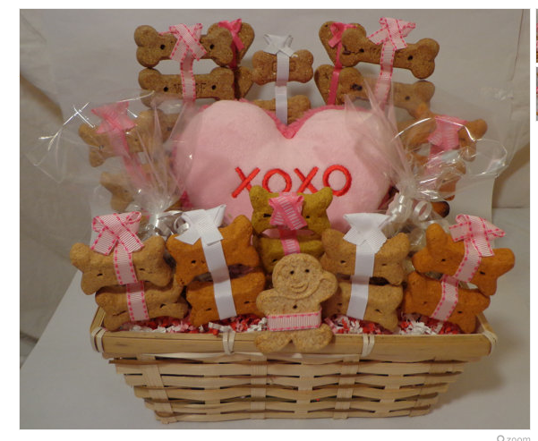 Pink Valentines Day dog biscuit treat basket with squeak toy, unique gift, custom, hearts