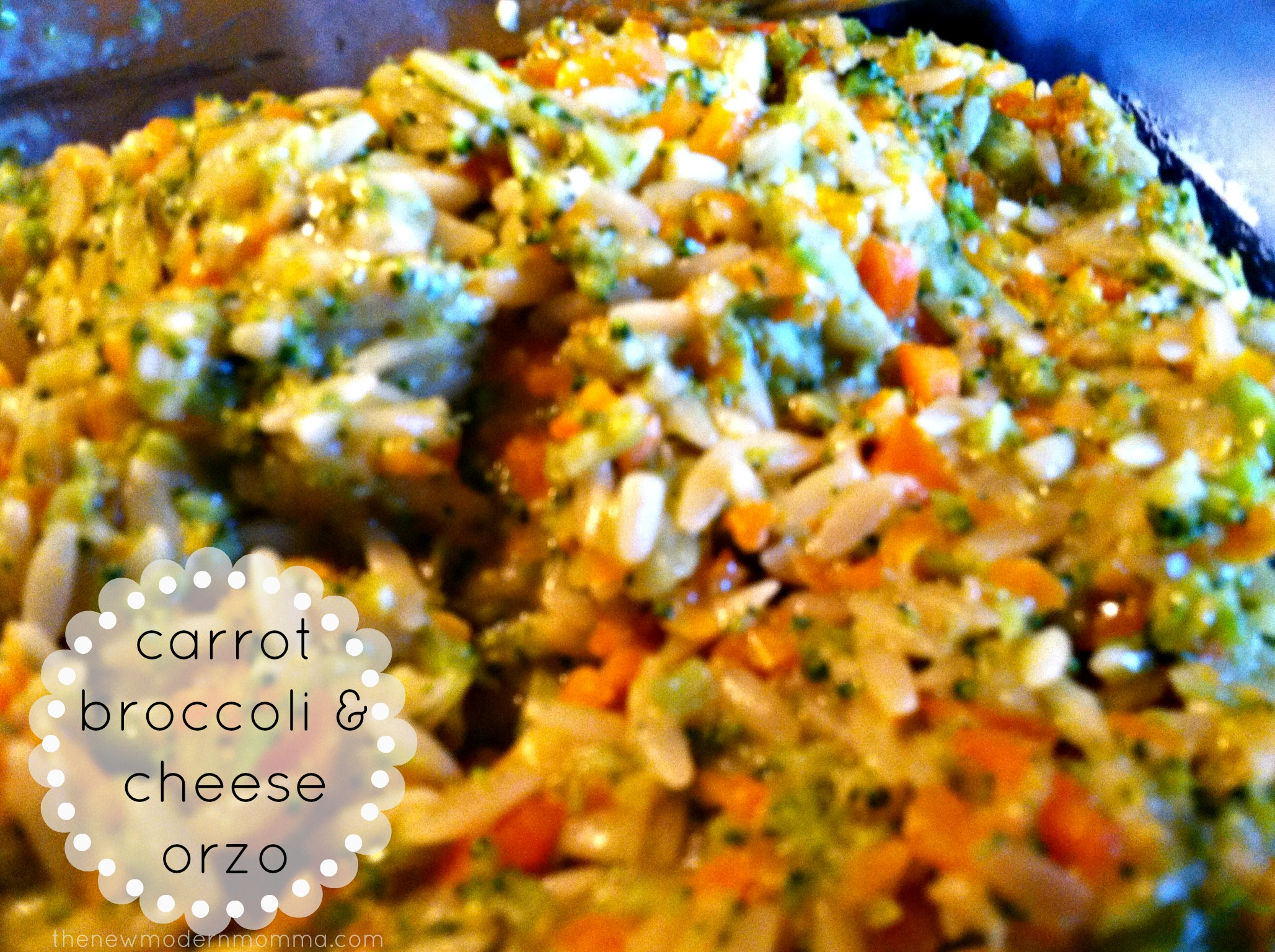 Carrot, Broccoli and Cheese Orzo :: A Weelicious Recipe :: Tasty Tuesday