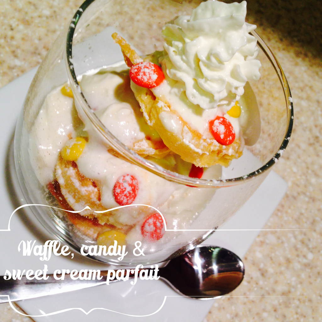 Waffle, Candy and Sweet Cream Parfait via @thenewmodernmom