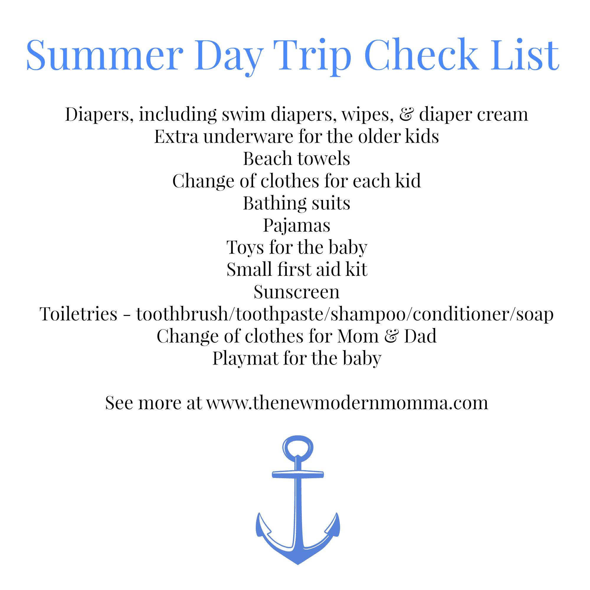 Summer Day Trip Check List