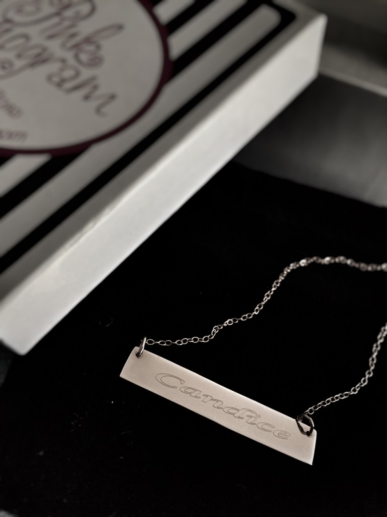Fashion Friday Rose Gold Monogramed Bar Necklace The