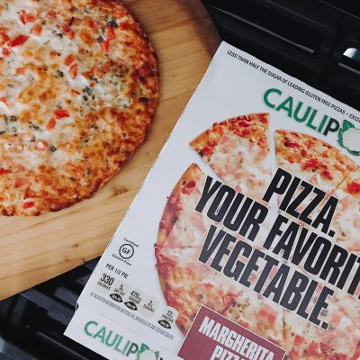 Pizza. Your Favorite Vegetable. Caulipower Gluten Free Pizza.